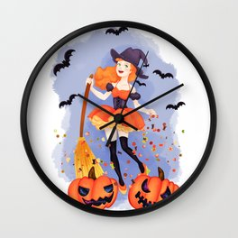 Halloween Little Witch Wall Clock