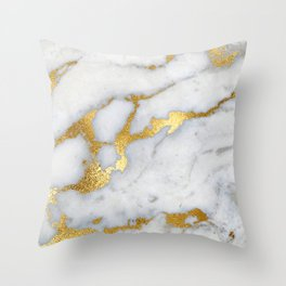 White and Gray Marble and Gold Metal foil Glitter Effect Throw Pillow