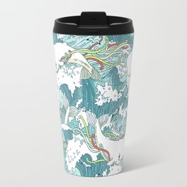Whales and waves pattern Travel Mug