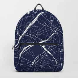 Paris France Minimal Street Map - Navy Blue and White Reverse Backpack