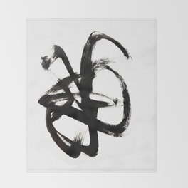 Brushstroke 4 - a simple black and white ink design Throw Blanket