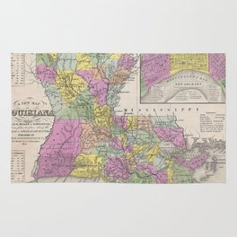 Vintage Map of Louisiana (1853) Rug