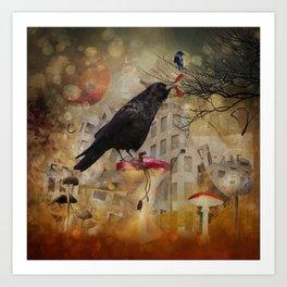 Raven in a City Art Print