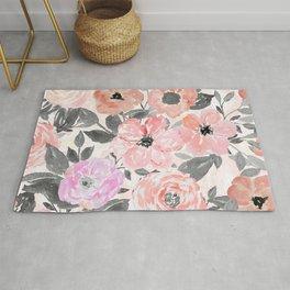 Elegant simple watercolor floral Rug