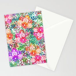 Modern neon pink purple orange green watercolor floral Stationery Cards