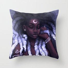 His Afrofutro Moon Throw Pillow