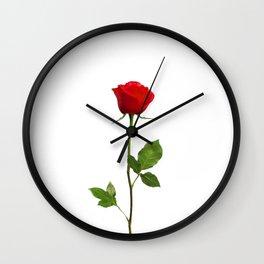 A RED LONG STEM ROSE BOTANICAL ART Wall Clock