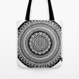 Black and White Radial Mandala Illustration Tote Bag