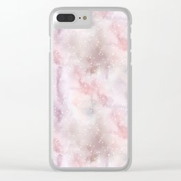 Mauve pink lilac white watercolor paint splatters Clear iPhone Case