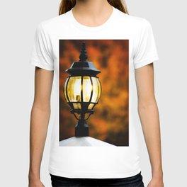 Lamp Post Against Fall Trees T-shirt