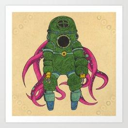 Green Octopous Art Print