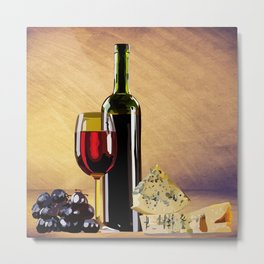 Wine & Cheese Metal Print