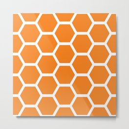 Orange Honeycomb Metal Print