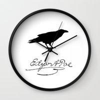 edgar allen poe Wall Clocks featuring Edgar Allen Poe by Suzanne Powers