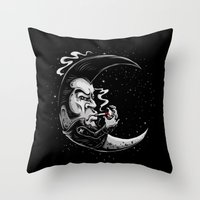 rockabilly Throw Pillows featuring Rockabilly moon by Kabay