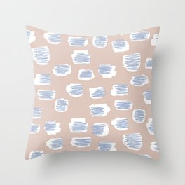 Spotted series messy abstract pastel blue nude spots Throw Pillow