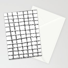 Black and white grid abstract minimal gridded pattern gifts basic nursery home decor Stationery Cards