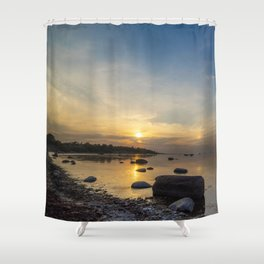 Sun with faint halo over the calm sea and reef rocks Shower Curtain