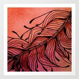 Doodled Autumn Feather 01 Art Print