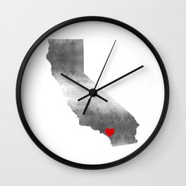 orange county red heart Wall Clock