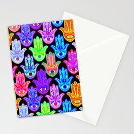 Bohemian Hamsas in Black Stationery Cards