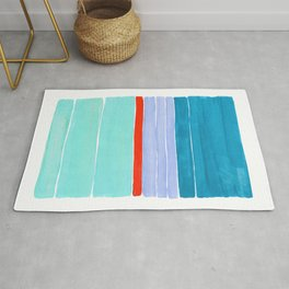 Pastel Blue Orange Colorful Rothko Minimalist Mid Century Modern Color Fields Stripes by Ejaaz Haniff Rug