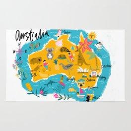 Illustrated map of Australia Rug