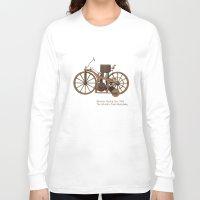 mercedes Long Sleeve T-shirts featuring Daimler Riding Car, 1885. The world's first motorbike. by Marijan Zubak