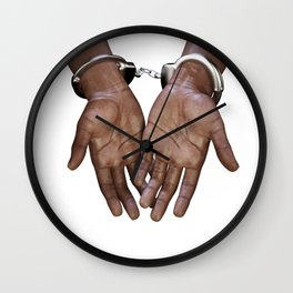 Hands with handcuffs Wall Clock
