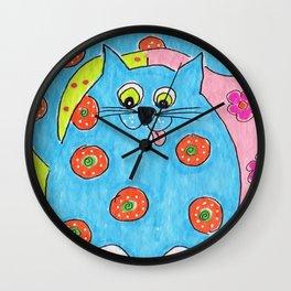 Blue Fat cat Wall Clock