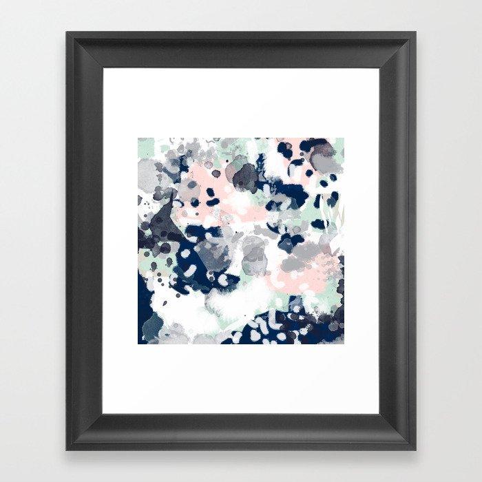 Melia - abstract minimal painting acrylic watercolor nursery mint navy pink Gerahmter Kunstdruck