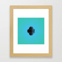 fractal black skull portrait with blue abstract background Framed Art Print