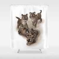 tigers Shower Curtains featuring Baby Tigers by Katikut