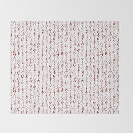 Ancient Japanese Calligraphy // Dark Red Throw Blanket