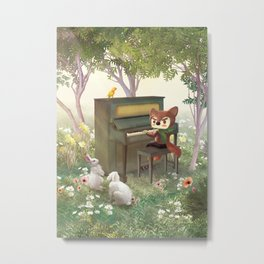 Forest Piano Metal Print