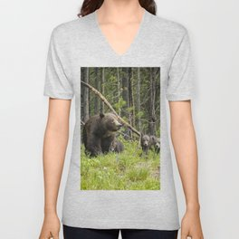 Charting the Course - Grizzly 399 with Her Four Cubs Unisex V-Neck