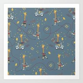 cool giraffe blue background Art Print