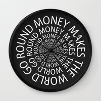 scarface Wall Clocks featuring Money by Text Guy