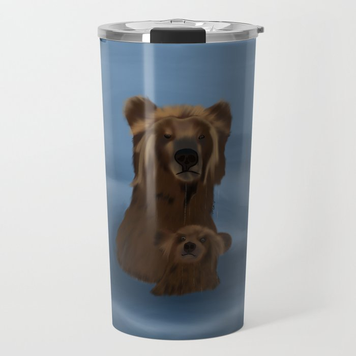 Grizzly Bear Mama and Her Cub Swimming Travel Mug