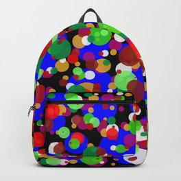 Numerous bubbles of different sizes and different colors on a black background Backpack