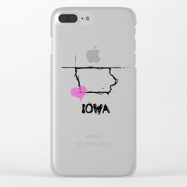 Love Iowa State Sketch USA Black Art Tees Clear iPhone Case