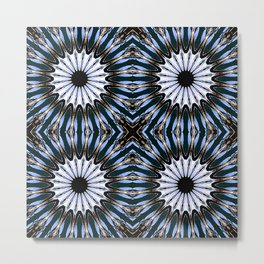 Blue Brown Etched Pinwheel Flowers Metal Print