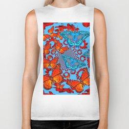 Blue & Orange Butterflies Abstract Pattern Art Biker Tank