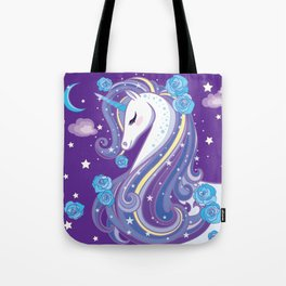 Magical Unicorn in Purple Sky Tote Bag