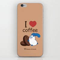 coffe iPhone & iPod Skins featuring Ernest | Love coffe by Hisame Artwork