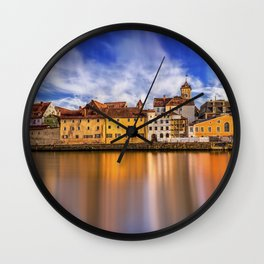 Panoramic Regensburg Danube in Germany Wall Clock
