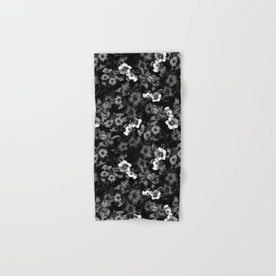 Black and White Floral Pattern Hand & Bath Towel