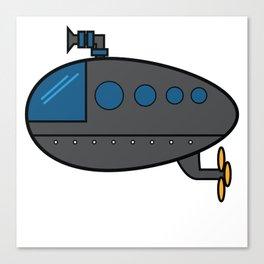 A Cute Illustration Of A Gray Submarine Underwater Sea Ocean Navy Submariner Snorkeling Air Bubbles Canvas Print