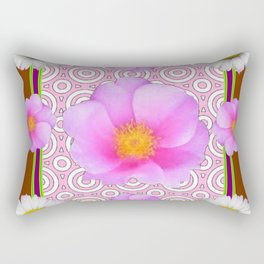 Coffee Brown Shasta Daisy Pink Roses Abstract Art Rectangular Pillow