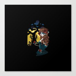 Zombie girl and window Canvas Print